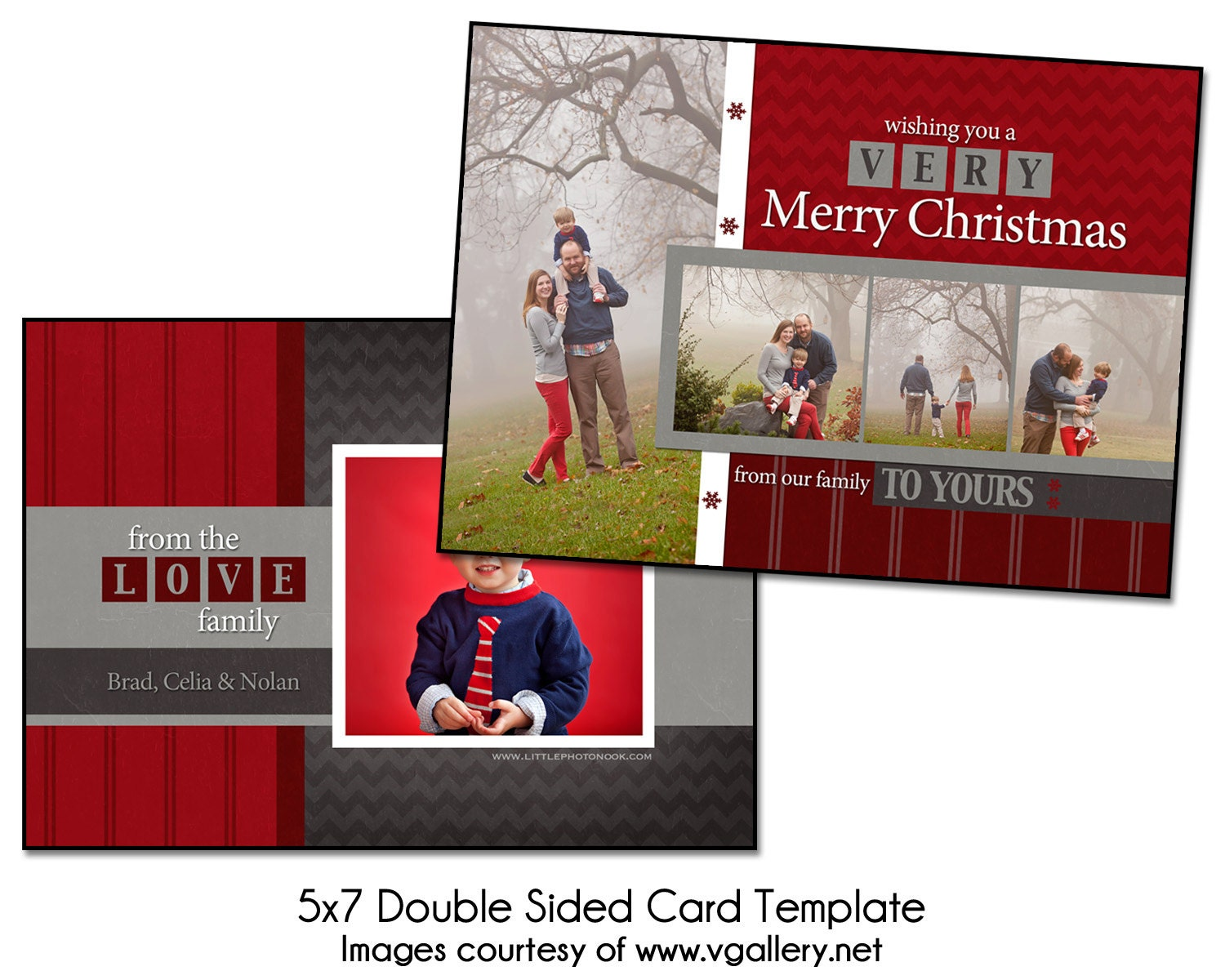 christmas card template block christmas 5x7 double sided. Black Bedroom Furniture Sets. Home Design Ideas