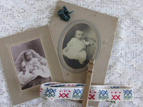 2 Antique Baby Photos, DIY Altered art inspiration kit, vintage black and white baby studio photographs, DIY mixed media supply lot, PK6