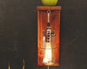 Weathered wood industrial wall sconce. Wall mount lamp shelf. Recycled materials. 212. Retro Edison bulb.