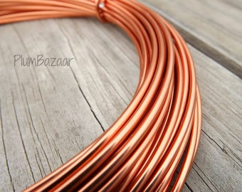 Aluminum wire for jewelry and crafts, 2mm 12 gauge round,copper color, 39 foot coil