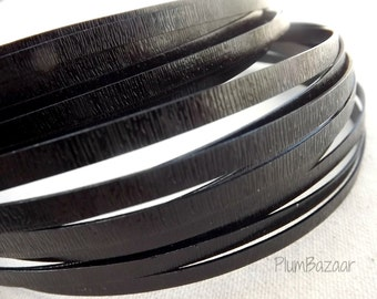 Embossed  aluminum craft wire, 5 mm flat,16 foot coil, black color