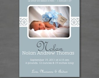 Baby Boy Photo Birth or Adoption Announcement; Blue Damask