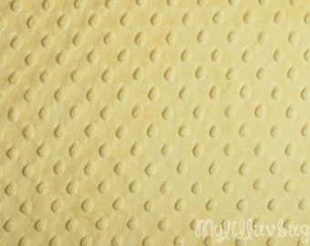Minky fabric by the yard- Yellow minky dimple fabric- minky dot fabric
