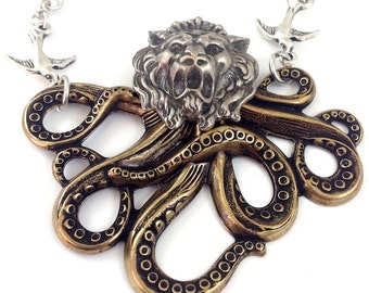 """The """"Octo-lion"""" Octopus Lion Steampunk Necklace, 24"""""""