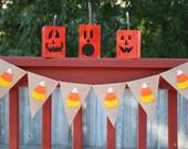 Candy Corn Banner - Halloween Banner - Halloween Decorations - Candy Corn Decor - Candy Corn Garland - Fall Banner - Burlap Banner