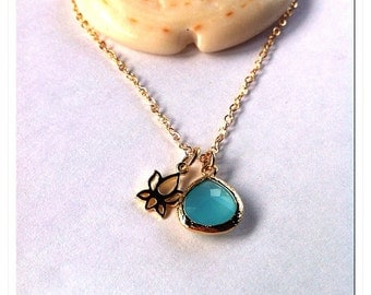 Ocean Sea Glass & Lotus Charm Necklace- ocean, sea glass, lotus flower, beach jewelry, hawaii, kauai