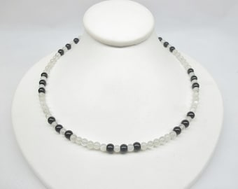 Moonstone Necklace Black Tourmaline Necklace Black and White Necklace Gemstone Necklace Adjustable Necklace Sterling Silver BuyAny3+1 Free