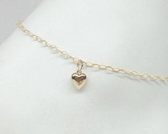 Solid 14kt Gold Chain Ankle Bracelet 14kt Gold Heart Anklet 14k Solid Gold Anklet Stamped 14k Anklet or 14kt Gold Bracelet BuyAny3+Get1Free