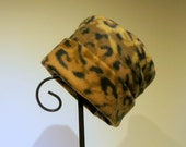 Leopard Hat, Roll Brim Hat, Soft and Warm Hat, Brown Hat, Leopard Print Fleece Hat