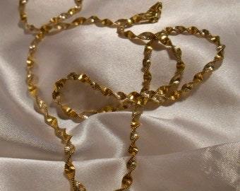Gold Plated 925 Sterling Silver from Italy Spiral Twist Chain