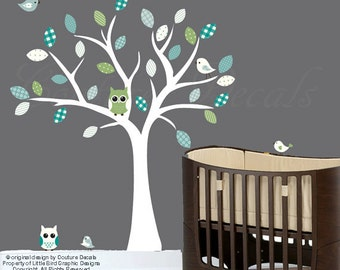 Nursery white tree wall decal -  Blue, grey, turquoise and green patterned - 0332