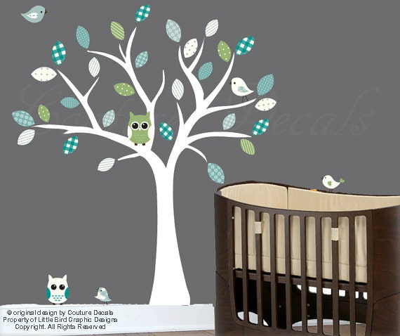 Nursery White Tree Wall Decal Blue Grey Turquoise And