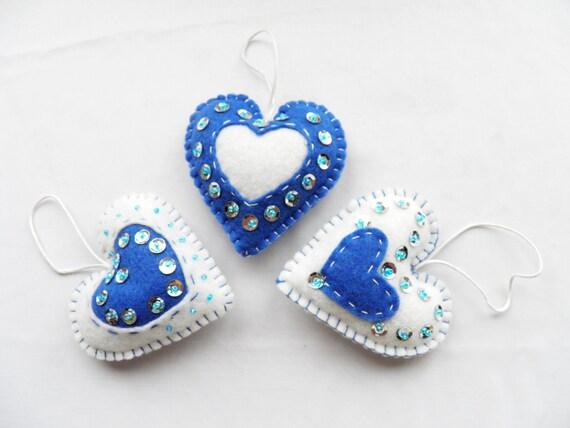 Items similar to felt heart christmas ornament set of