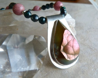 Botryoidal Agate Sterling Silver Pendant with Pink Rhodonite and Teal Pearls Artisan Necklace