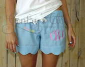 Women's blue seersucker scalloped edge monogrammed shorts. Blue lounge shorts for women. Bridesmaid gifts with monogram. Embroidered.