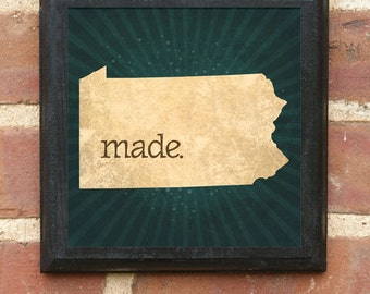 Pennsylvania PA MADE Wall Art Sign Plaque Gift Present Personalized Color Custom Scranton Harrisburg Pittsburgh Philadelphia Antiqued