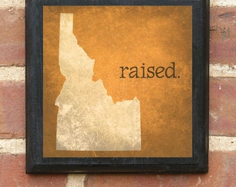 Idaho ID RAISED Wall Art Sign Plaque Gift Present Personalized Color Custom Home Decor Vintage Style Boise Nampa Meridian Falls Classic