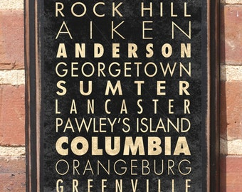 South Carolina Cities Sc Wall Art Sign Plaque Gift Present Home Decor Columbia Charleston Greenville Florence