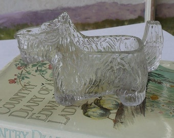 1940's Scotty Dog - Scottish Terrier - Clear pressed depression glass - spoon holder - candy dish - creamer - collectible