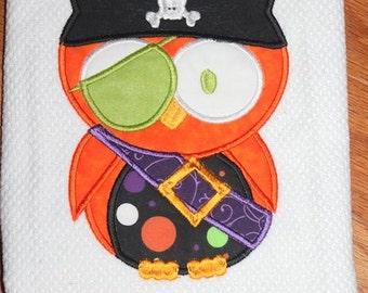 Halloween Pirate Owl Machine Applique Embroidery Design - 4x4, 5x7 & 6x8