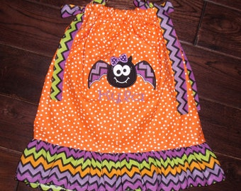 Boutique Halloween Chevron Bat Pillowcase Dress Sizes 6x and 7-8 youth