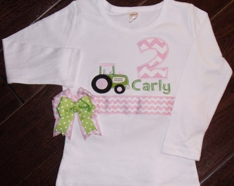 Birthday Tractor Shirt, Personalized Tractor Shirt, Embroidered Tractor Shirt, Girls Birthday Tractor Shirt, Green Tractor Shirt