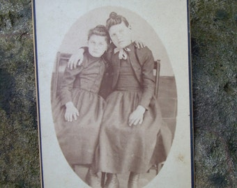 Small Cabinet Card Photo - Loving Sisters