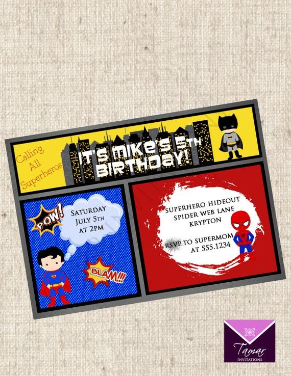 printable superhero birthday invitation comic book invite by tamar