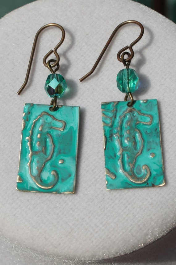 Brass Embossed Seahorse Earrings