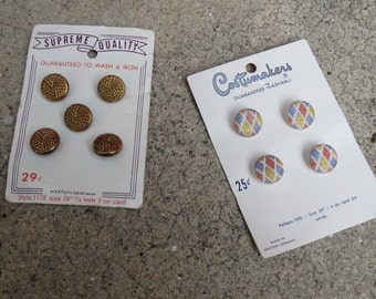 Vintage Glass Buttons Original Button Cards Western Germany