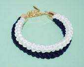 Nautical Cord Bracelet, Navy Cotton Double Rope Bracelet, Eco-fridendly Bracelet, Cotton Rope Bracelet, Navy & Cream Bracelet