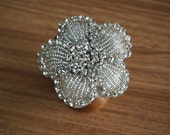 rhinestone applique in flower , crystal beaded applique,Bling, Sparkle Buttons, Bridal, Wedding