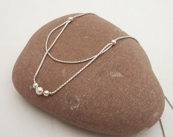 Vintage Sterling Silver Chain, Chain with Ball, UK Seller