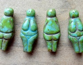 Czech Glass Bead Goddess Turquoise Picasso 24mm x 10mm QTY 4