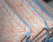 Custom Crib Bumpers / Six Piece / Tan Orange Blue Woodland