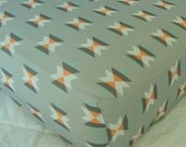 Crib Nursery Sheets / Baby Bedding- Tribal Aztec Premium Contemporary Designer Fabric (with options) in Grey, Mint, Coral