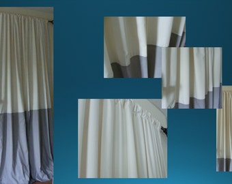 Custom  Window Treatments Drapery  Curtain Panels Lining Included Color Block Contrast Grey Cream