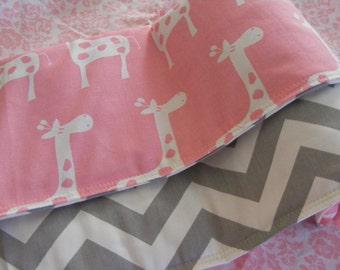 Baby Bedding  / Baby Pink  Giraffe and Grey Chevron and Baby  Modern Crib Bedding