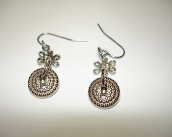 Silver Button Earrings - Button Jewelry - Dangle Button earrings - Silver Metal Buttons - Silvertone flower connector