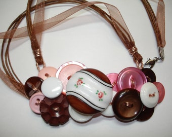 Button Necklace - Vintage Button Jewelry -Vintage Buttons - Vintage glass Focal button - PINK - BROWN - WHITE- Rosebud design