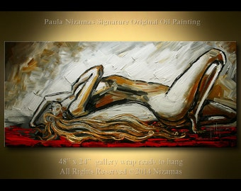 Painting on canvas figure nude palette knife art from Paula Nizamas ready to hang