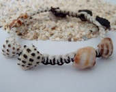 Hawaiian Drupe shell dark brown and white nylon macrame bracelet -Hawaii shell jewelry
