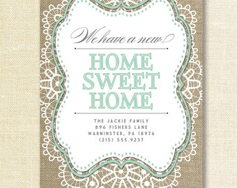Lace Burlap Moving Announcement Card Home Sweet Home Mint Green Shabby Chic New House Free Priority