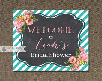 Pink & Teal Welcome Sign Blush Pink Roses Bridal Shower Wedding Buffet Food Table Sign Printable 8x10 DIY Digital or Printed - Leah Style