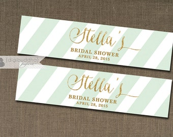 "Mint Green & Gold Water Bottle Labels Drink Label Gold Glitter Bridal Shower Baby Shower Birthday Party DIY Drink Bottle Labels 8x2""- Stella"