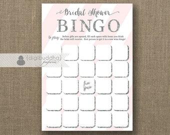 Blush Pink & Silver Glitter Bridal Shower Bingo INSTANT DOWNLOAD 5x7 Shabby Chic Modern Shower Game Card DIY Printable or Printed- Stella