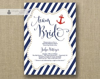 Team Bride Bachelorette Party Invitation Navy & Red Anchor Gold Glitter Bridal Lingerie FREE PRIORITY SHIPPING or DiY Printable - Jaclyn