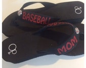 Baseball Mom Glitter Bling Flip Flops