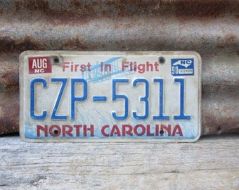 License Plate Vintage License Plate 1990 90s Era NC North Carolina First in Flight License Plate Blue Man Cave Sign Garage Sign Wall Hanger