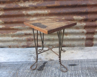 Primitive Antique Stool Home Made Wood And Metal Twisted